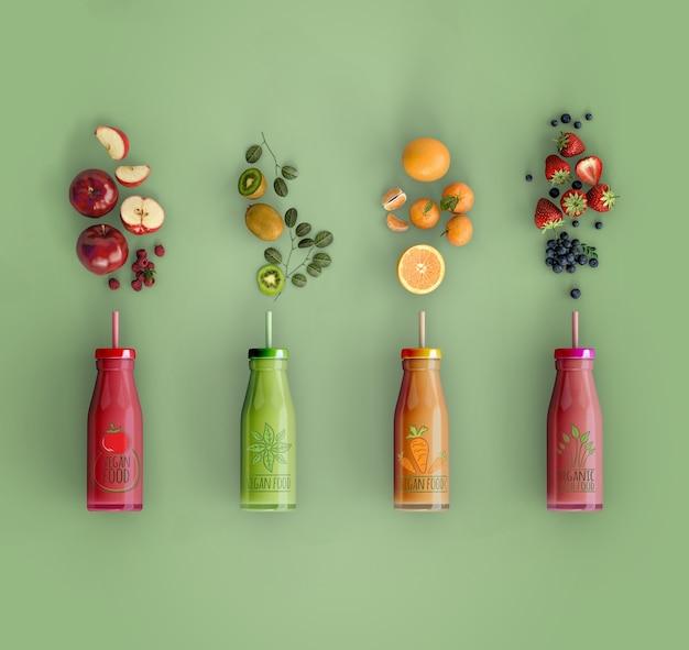 Smoothies de leigos planos com deliciosas frutas mock-up Psd grátis