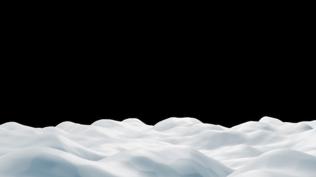 Snowdrift no fundo preto 3d render Psd Premium