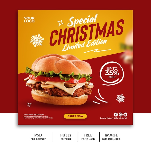 Social media post chirtsmas banner template para restaurant fastfood menu burger Psd Premium