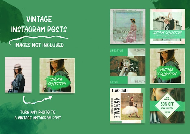 Social media vintage instagram posts bundle Psd Premium