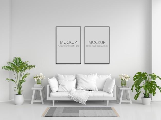 Sofá branco na sala de estar branca com moldura Psd Premium