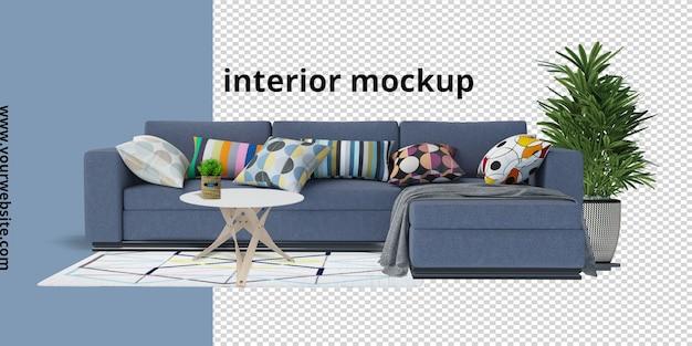 Sofá com planta, mesa e maquete de carpete em renderização 3d Psd Premium