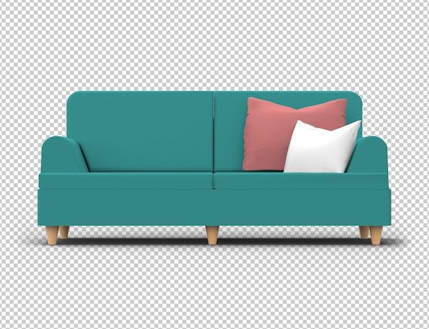 Sofá isolado. tecido, cor verde turquesa Psd Premium
