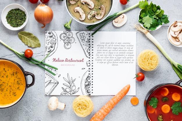 Sopa plana leiga com variedade de ingredientes e maquete de receitas Psd grátis