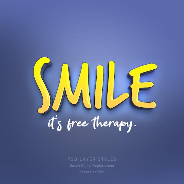 Sorria é citação de terapia gratuita efeito de estilo de texto 3d psd Psd Premium