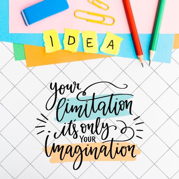 Sua limitação é apenas sua citação de imaginação e material escolar Psd grátis