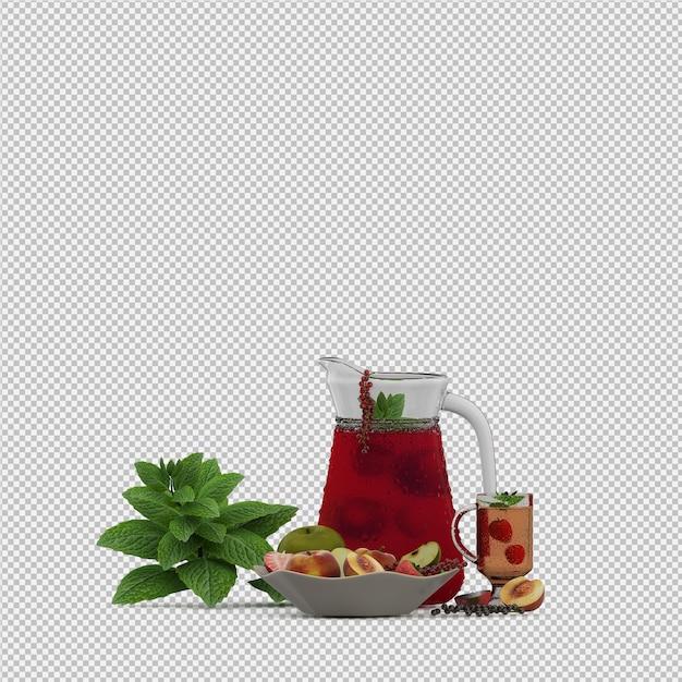 Suco vermelho com frutas 3d render Psd Premium