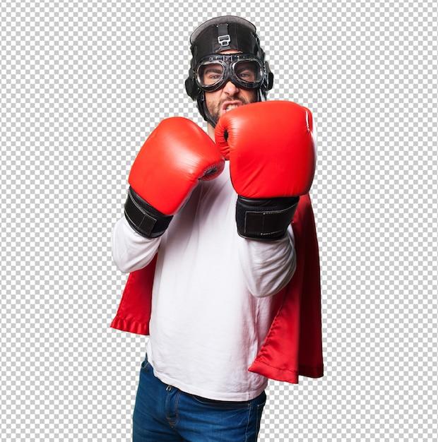 Super herói usando luvas de boxe Psd Premium