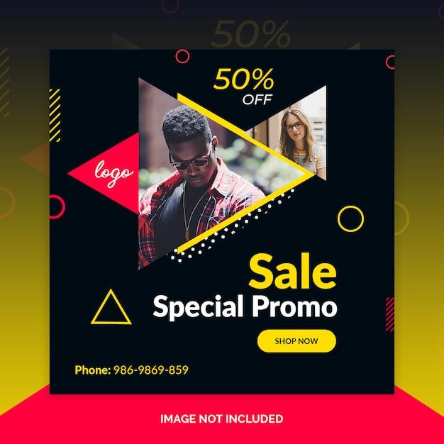 Super promoção promocional especial instagram post, banner quadrado ou modelo de panfleto Psd Premium