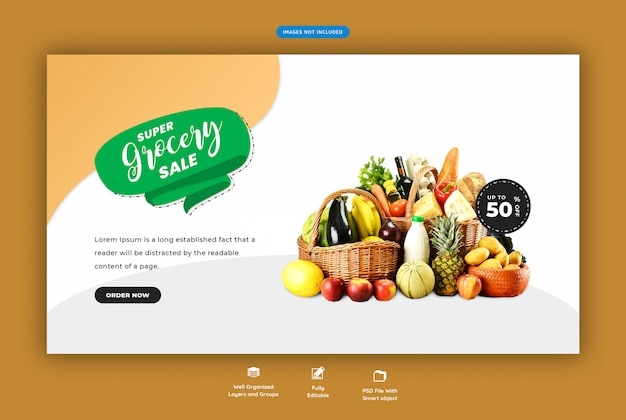Super supermercado venda web banner Psd Premium