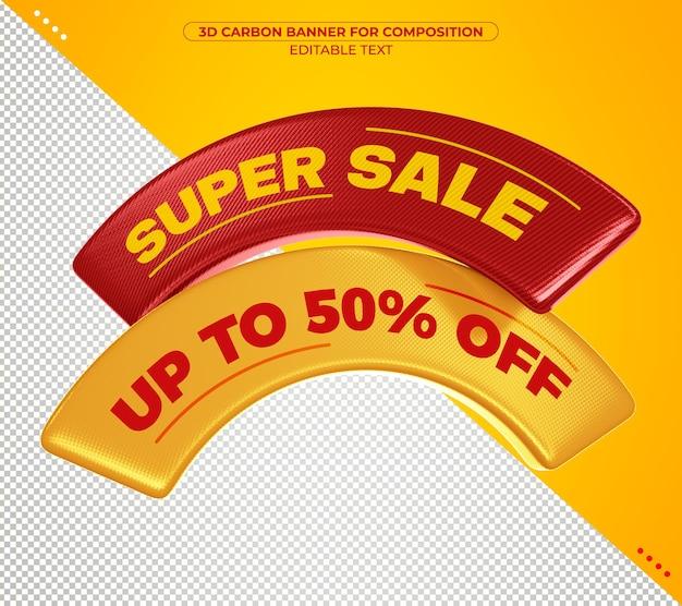 Supervenda banner 3d de carbono para composição isolada Psd Premium