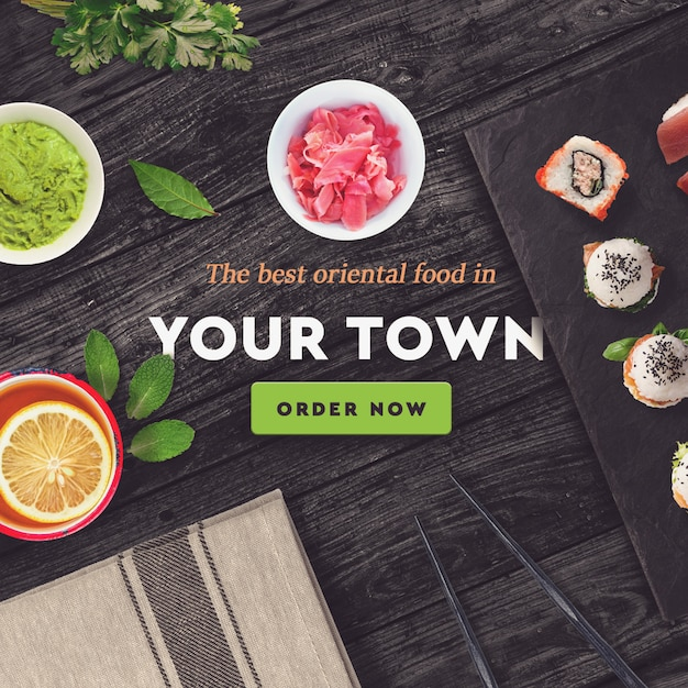 Sushi bar, modelo de postagem de mídia social de restaurante Psd Premium
