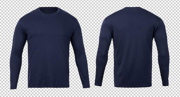 T-shirt de manga comprida marinha frente e verso modelo de mock-up para seu projeto. Psd Premium