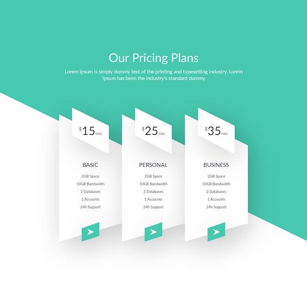 Tabela de preços de criativos modernos Psd Premium