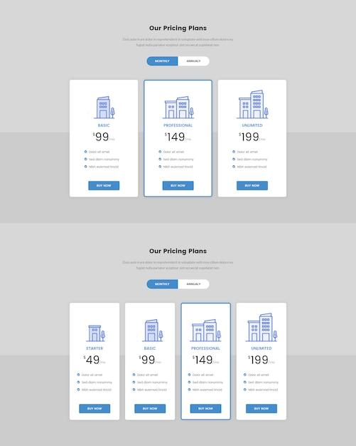 Tabela de preços mínimos para a web Psd Premium