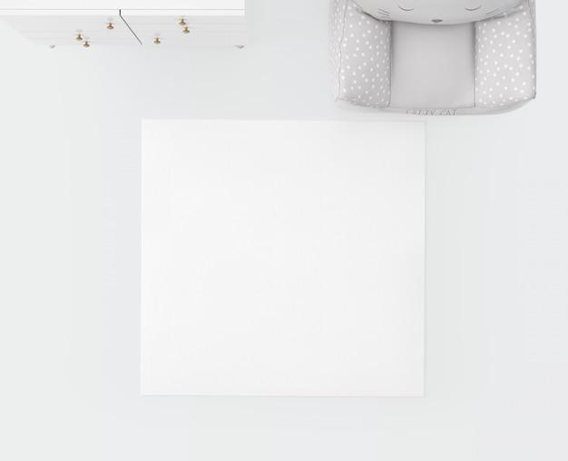 Tapete branco e assento macio Psd grátis