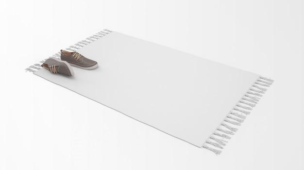 Tapete branco realista com um par de sapatos Psd grátis