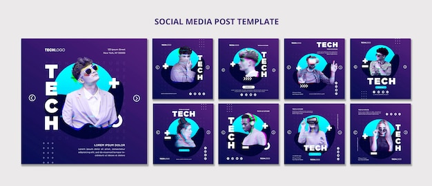 Tech & future social media post template template concept Psd Premium