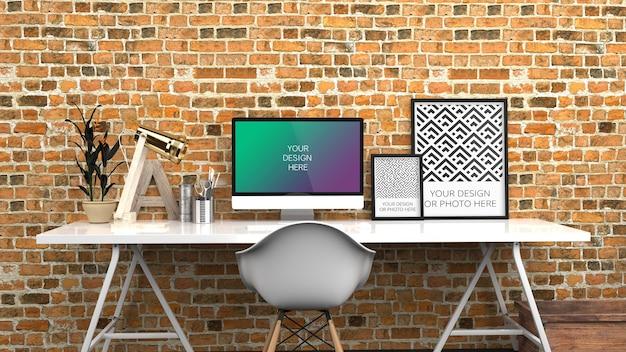 Tela de computador e maquete de pôsteres verticais em preto vermelho contemporâneo home office Psd Premium