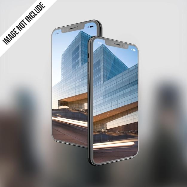Tela dupla do telefone x maquete Psd Premium