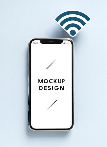 Telefone móvel, com, wi-fi, ícone Psd grátis