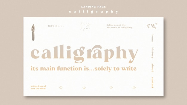 Tema da página de destino de caligrafia Psd grátis