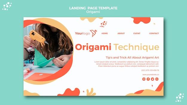 Tema da página de destino de origami Psd grátis