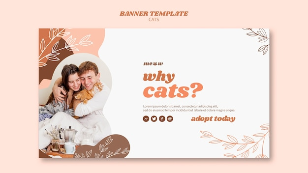 Tema de modelo de banner de gatos Psd grátis