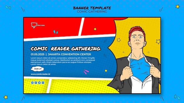 Tema de modelo de banner em quadrinhos Psd grátis