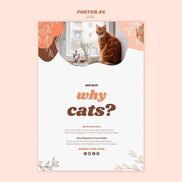 Tema de modelo de cartaz de gatos Psd grátis