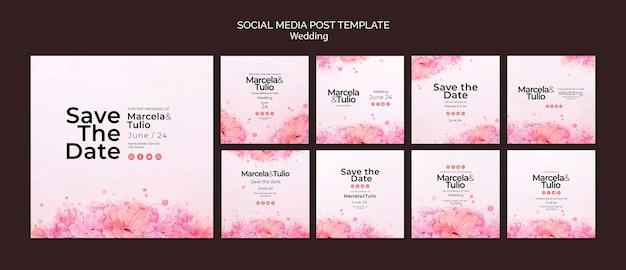 Tema de modelo de postagem de mídia social de casamento Psd grátis