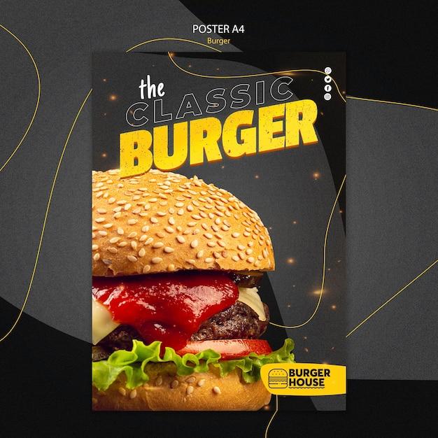 Tema de modelo de pôster de hambúrguer Psd grátis