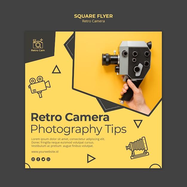 Tema de panfleto de câmera retro Psd grátis