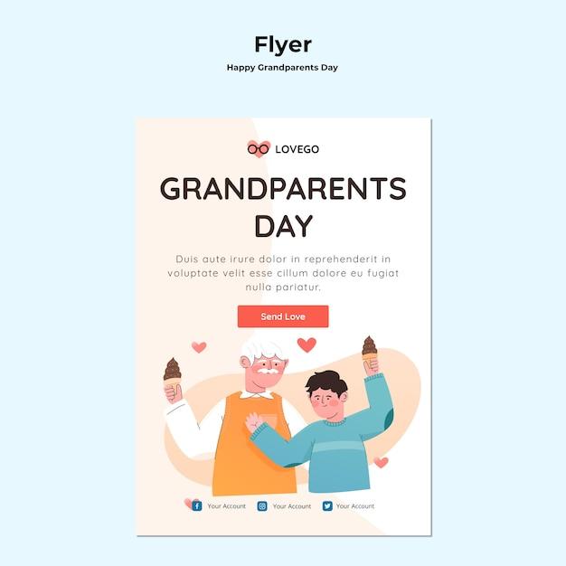 Tema de panfleto de dia dos avós feliz Psd grátis