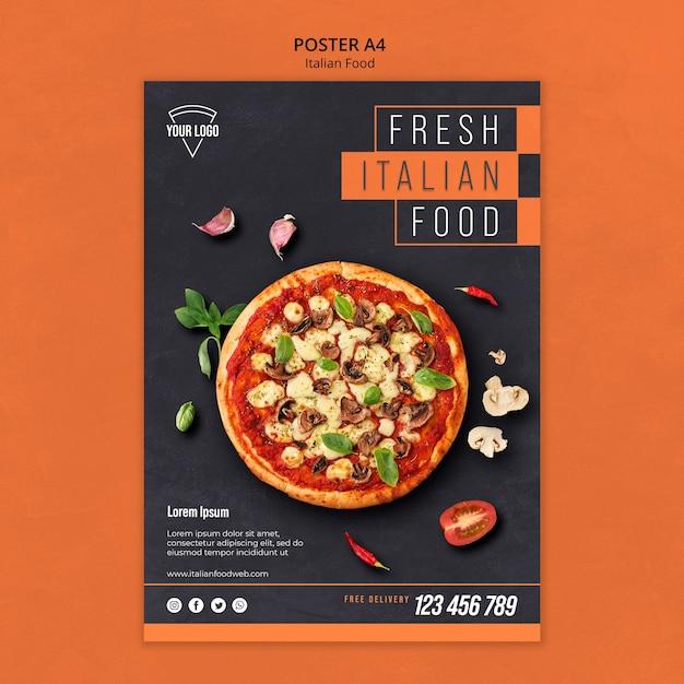 Tema de pôster de comida italiana Psd Premium