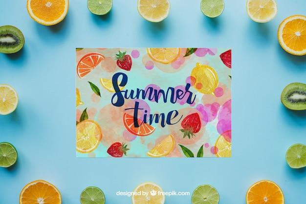 Tema de verão com frutas Psd grátis