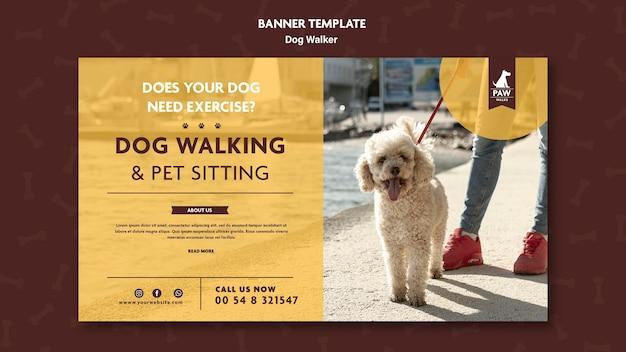 Tema do banner dog walker Psd grátis
