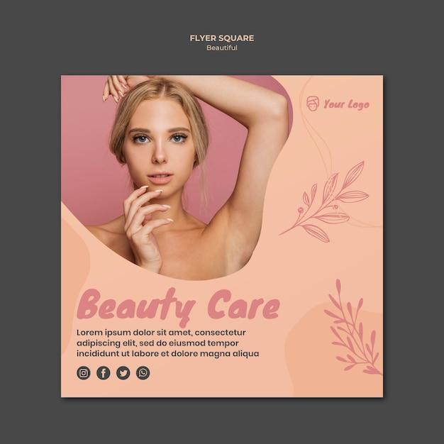 Tema do modelo de panfleto de beleza Psd grátis