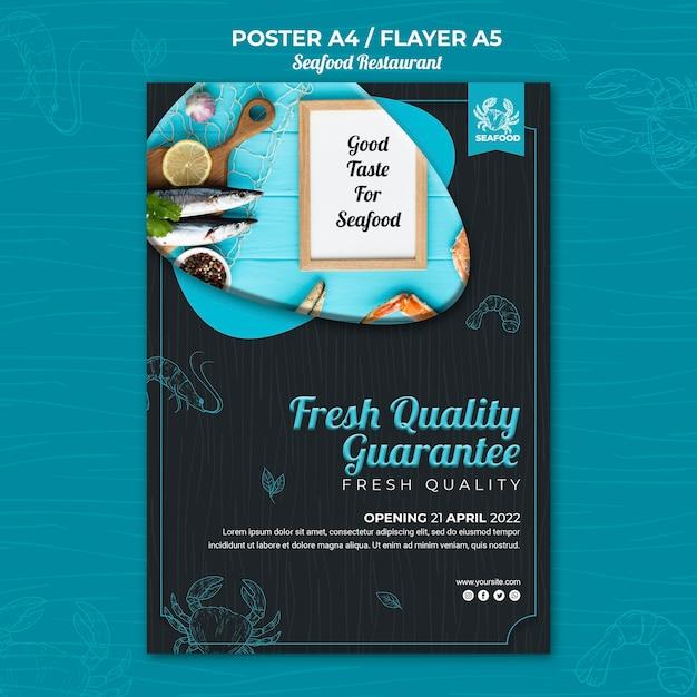 Tema do pôster do restaurante de frutos do mar Psd grátis