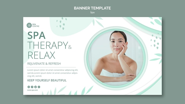 Terapia de spa relaxar modelo de banner de fim de semana Psd grátis
