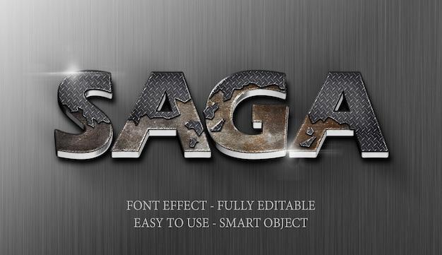 Text effect 3d iron steel crack Psd Premium
