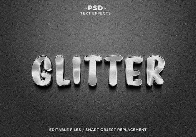 Texto de efeitos 3d realistic glitter silver Psd Premium