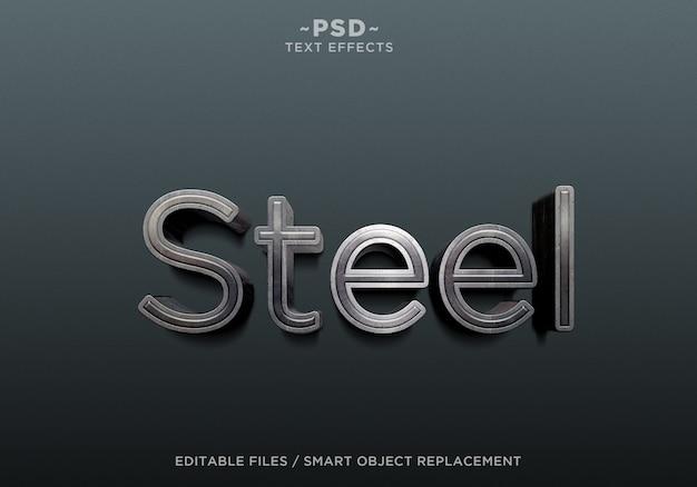 Texto editável de efeitos de aço 3d realistas Psd Premium