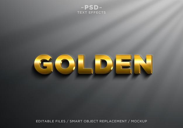 Texto editável de efeitos dourados 3d realistas Psd Premium