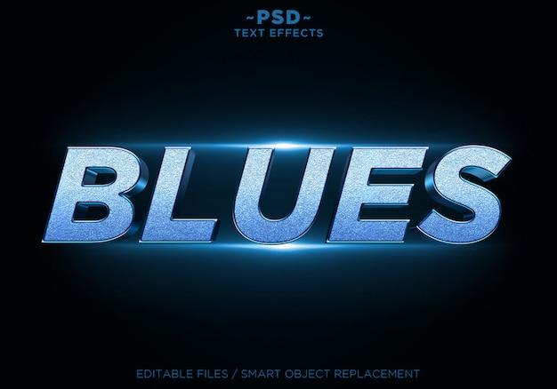 Texto editável dos efeitos do brilho dos azuis 3d Psd Premium