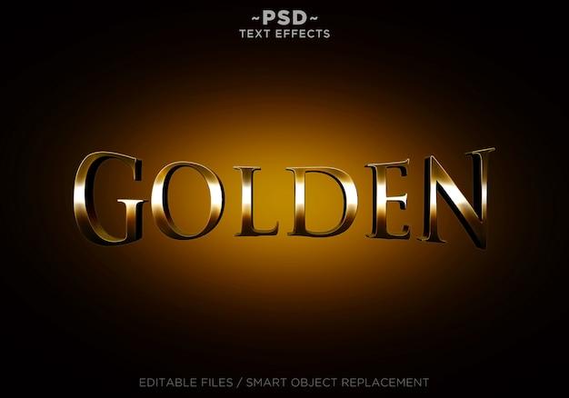 Texto editável dos efeitos dourados 3d Psd Premium