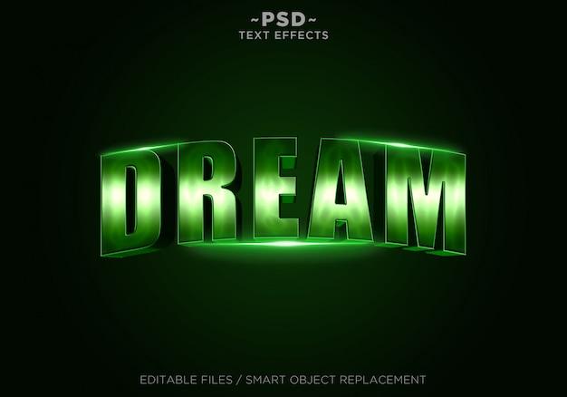 Texto editável dos efeitos verdes do sonho 3d Psd Premium
