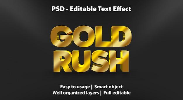 Texto editável efeito gold rush Psd Premium