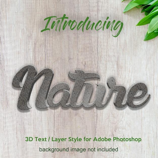 Textured parede 3d texturizado efeitos de texto de estilo de camada photoshop Psd Premium