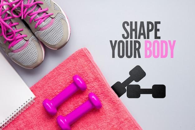 Toalha e equipamento para aulas de fitness Psd grátis